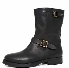 Burberry Ankle Boots Black Leather Women Size 39.5 EUR 6510