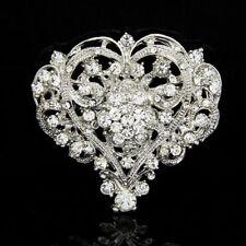 Heart Shape Lady Girl Rhinestone Brooch Huge Size Wedding Party Brooch Pin