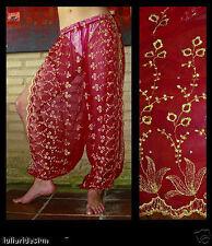 Harem Pants Belly Dance Red w/ Gold Brocade Slit 5