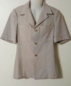 PALM COURT FREEDMAN Mens Small Safari Jacket Vintage 70's Beige Easy Care As New