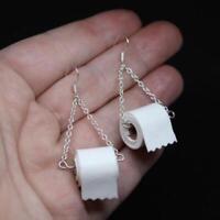 Women Silver TOILET PAPER Roll EARRINGS Hook Ear Wire Polymer Clay Handmade Hot