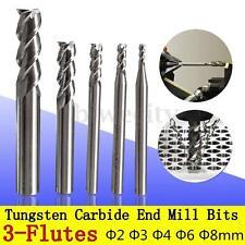 5Pcs Aluminum Milling 3 Flute Ф2-8mm HRC50 Tungsten Carbide End Mill Cutter Set
