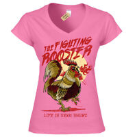 Funny Fighting Rooster T-Shirt Mens V-Neck
