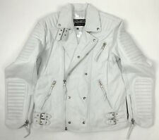 MENS LAMBSKIN LEATHER BIKER JACKET MOTORCYCLE MOTO CLASSIC WHITE (ALL SIZES)