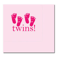 Pink Baby Girl Shower Party TWINS! FOOTPRINTS LUNCH DINNER NAPKINS