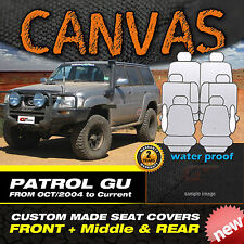 Nissan Patrol BLACK CANVAS Custom Made Seat Covers GU-IV, GU-V F+M+R 10-2004-ON