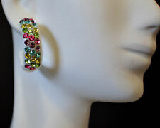 "New Half Moon 1"" White Hoop Fashion Multicolor Crystals Earrings"