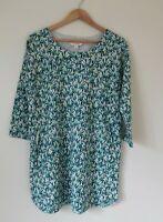 White Stuff Green Tree Print Tunic Dress Cotton Blend UK 14