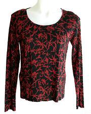 """NWT Sigrid Olsen 100% Silk """"Autumn Bistro"""" Black & Red Knit Pullover Top $108 -M"""