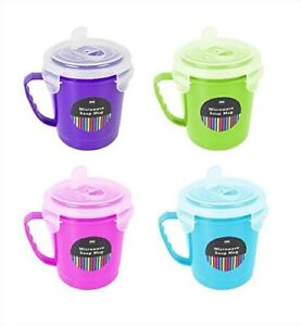 4 x 600ml Clip and Lock Microwave Soup Mug Container with Lid