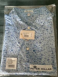 Peter Millar Night Printed Rock Performance Jersey Polo Color Cottage Blue XXL