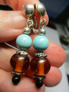 STERLING SILVER 925 ESTATE FAUX TURQUOISE AMBER DROP CLIP ON 1.75 INCH EARRINGS