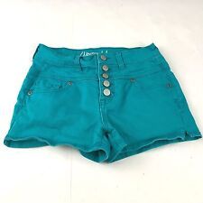 Aeropostale Womens Shorts Size 0 High Waisted Cotton Button Fly Blue