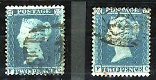 GB QV 1854/7 2d blue perforate 14 wmk LC sg34 cv£140 (2v) FU Stamps
