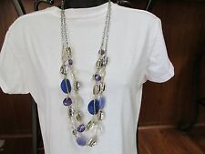 NEW CHICO'S Long 2 strand Necklace Silver Tone Purple Clear Beads