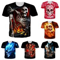 Skull 3D Printed Mens Womens Summer Casual Short Sleeve T-Shirt Graphic Tee Tops