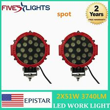 2X 51W RED Round LED Work Light SPOT BEAM Off-road fog Driving 4WD Boat UTE ATV