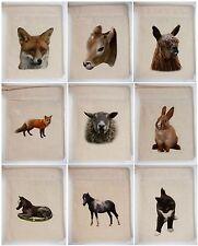 Mini Canvas Gift Bags 10cm by 13cm incs Fox Llama Cat Sheep Horse Calf & more