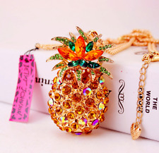 Enamel Betsey Johnson Pendant Pineapple Hot Rhinestone Gold Chain Necklace