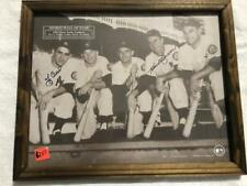 FRAMED AUTOGRAPHED BY BERRA AND BAUER 1952 PHOTOGRAPH OF NY YANKEES WALL OF FAME