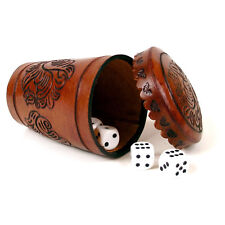 #461 Hand Tooled Leather Dice Cup Gambling Shuffle Game Yatzee