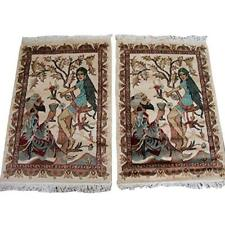 Wow King Umre Khayam Love Area Rugs Hand Knotted Wool Silk Carpet Pair (3 x 2)'