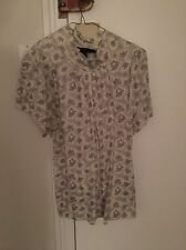 Marc Jacobs Cotton Ivory & Silver Short Sleeve Shirt / Blouse / Tunic - Size M