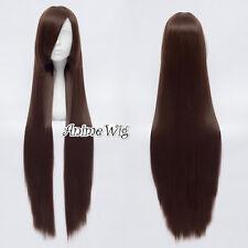 100CM Reddish Brown Long Straight Women Hair Cosplay Wig Heat Resistant+Cap