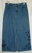 Eddie Bauer Size 14 Long Medium Wash Blue Denim Floral Embroidered Skirt