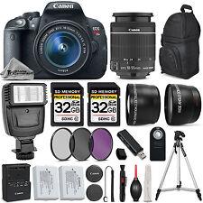 Canon EOS Rebel T5i Camera 700D + 18-55mm IS + Flash + 64GB + EXT BATT & MORE!
