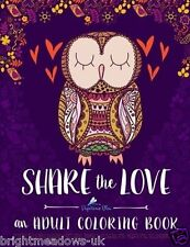 Share the Love Adult Colouring Book Hearts Animals Creative Art Therapy Relax