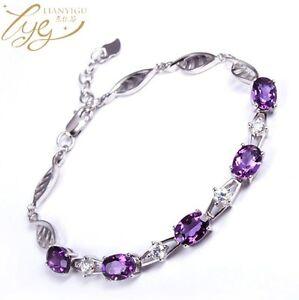 """Sterling Silver Oval Purple Amethyst Zirconia CZ Chain Bracelet 8"""" Gift Box B5"""
