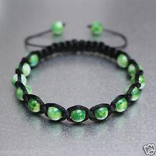 Green And White 8mm Glass Beads Black Adjustable Bracelet Boho Men Women Unisex