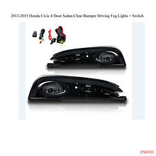 New 2013-2015 Honda Civic 4 Doors Clear Bumper Fog Light Lamps Wiring Kit Switch