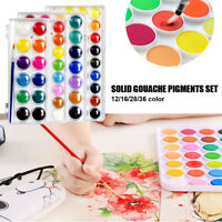 12/16/28/36colors Solid Watercolor Paint Gouache Pigments with Pen Brush Set