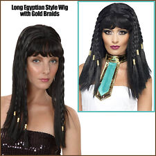 Egyptian Queen of Nile Cleopatra Costume Wig Gold Braids Long Black Hair Goddess