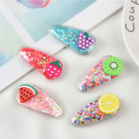 Popular Kids Girls Quicksand Fruit Plastic Cartoon Hairpin Barrette Multi-color