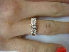 EXQUISITE 14K ROSE GOLD 0.75 CT DIAMOND PYRAMID BAND-RING, 3.6 GRAMS, SIZE 6