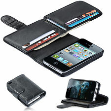 New 7 Card Holder Flip Wallet Leather Case Cover For Apple iPhone 4 / 4S Black