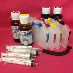 LARGE Refillable Cartridges +400ml Ink & Syringes for Brother LC-1280 1240 1220