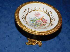 Sevres Style Porcelain Tazza Ormolu Base Hand Painted Compote France
