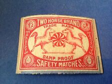 old match box top - two horse brand safety matches