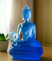 19CM Tibet Tibetan Buddhism Resin Shakyamuni Medicine Master Buddha Sit Statue