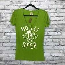 Hollister Juniors Medium V Neck Plunge Graphic Tee Short Sleeve Top Green Basic