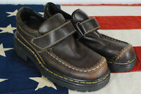 Dr Martens Mary Jane Chunky Platform Heels Brown Leather ENGLAND Size 5