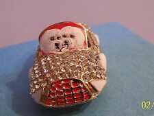 Bichon Frise hand painted  car rhinestone crystal key chain handbag charm gift