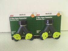 2 Pack Ace 7303415 2-Way Hose Connector Y Splitter ACE Brand New Faucet Adapter
