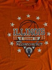 "Very RARE Vtg 88-89 ""Season to Remember"" Illinois Basketball Chiefs T shirt, MED"