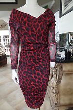 BETSEY JOHNSON Red/Black Animal Print Ruched Sheath Dress M