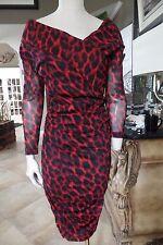 BETSEY JOHNSON Red/Black Animal Print Ruched Sheath Dress M